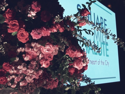 Square Events - flowers and SMS branding on screen