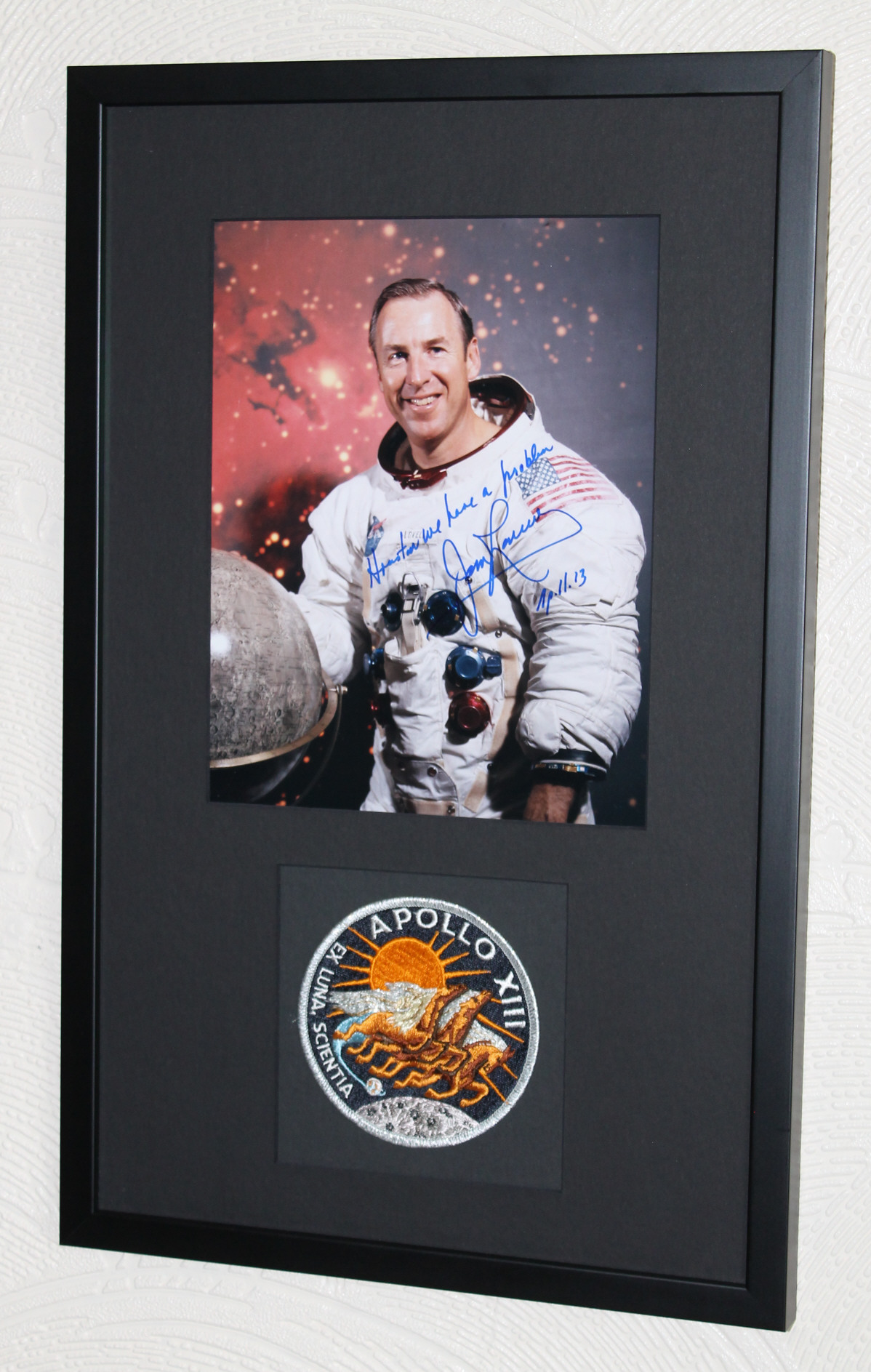 Framed Apollo 13 photo signed by Commander James Jim Lovell