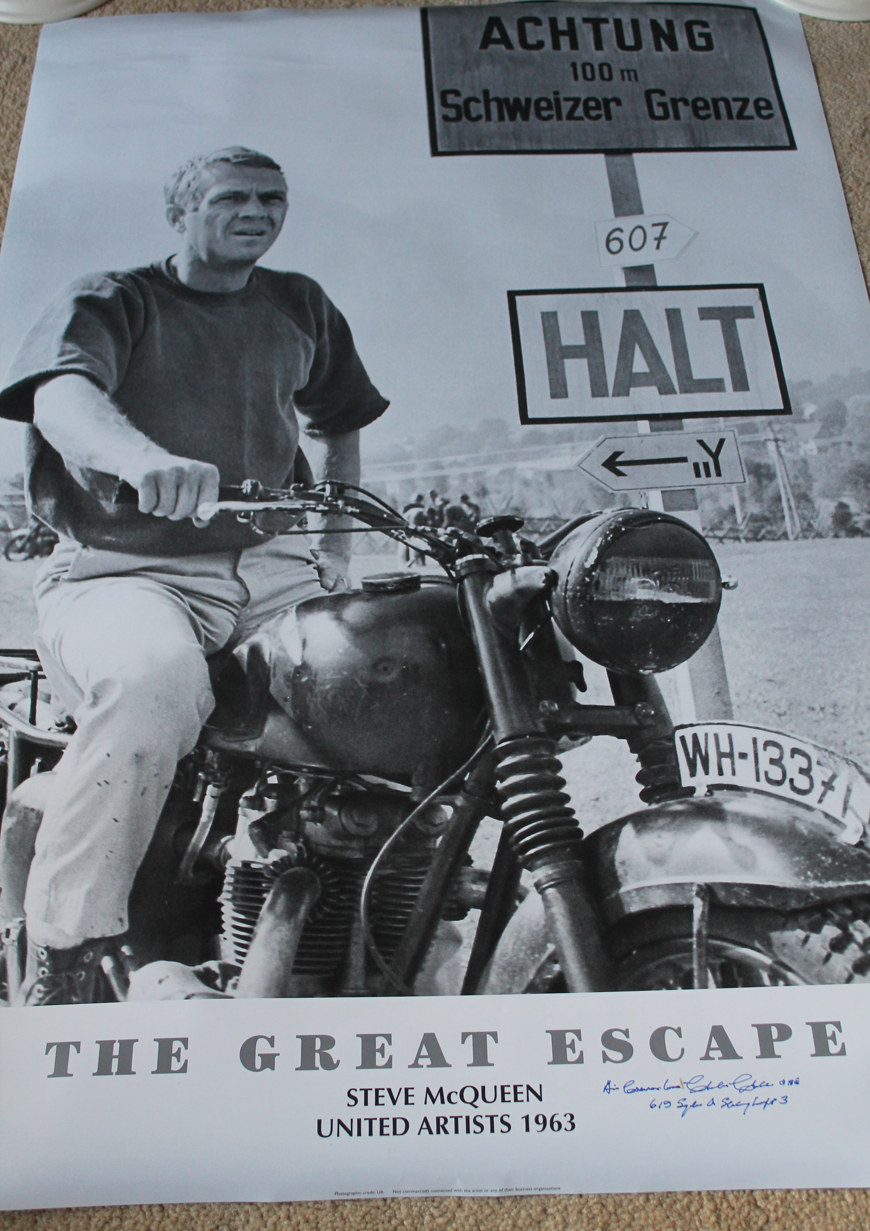 An iconic Steve McQueen poster from The Great Escape
