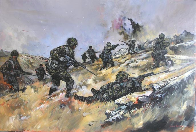 Original oil painting of Battle for Mt Longdon Falklands by Jason Askew