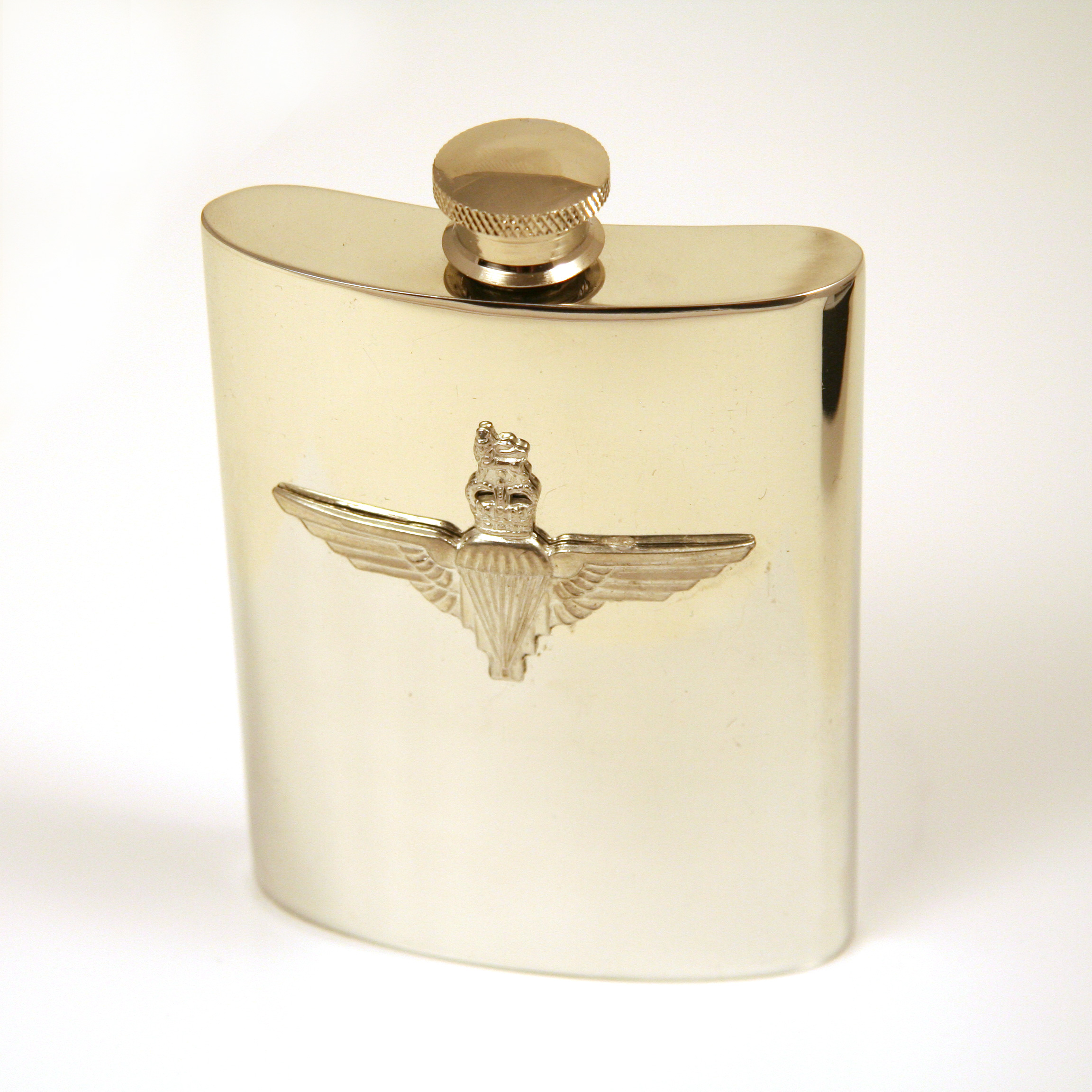 Solid pewter hipflask with embossed parachute Regiment capbadge